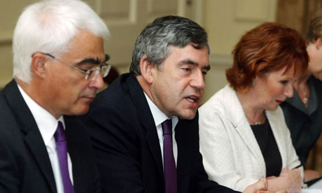 Alistair Darling, Gordon Brown and Hazel Blears at Downing Street on September 2 2008. Photograph: Lewis Whyld/PA Wire