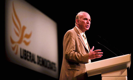 Vincent Cable, the Liberal Democrat Treasury spokesman and deputy leader, speaks to his party's annual conference in Bournemouth on September 15 2008. Photograph: Ben Birchall/PA
