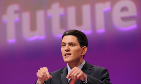 David Miliband speaks at the Labour conference in Manchester on September 22 2008. Photograph: Nils Jorgensen/Rex Features