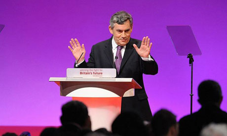 Gordon Brown speaking to the Labour conference in Manchester on September 23 2008. Photograph: Anthony Devlin/PA