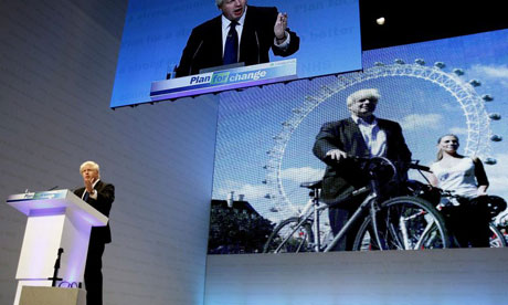 Boris Johnson speaks at the Conservative conference in Birmingham on September 28 2008. Photograph: Kirsty Wigglesworth/AP