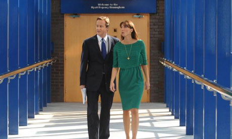David Cameron and his wife, Samantha, at the Conservative party conference in Birmingham on October 1 2008. Photograph: Stefan Rousseau/PA Wire