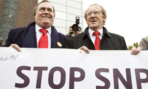 Labour candidate Lindsay Roy and John Prescott campaigning in the Glenrothes byelect