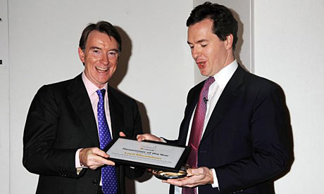 George Osborne presents Lord Mandelson with 'Newcomer of the Year Award'