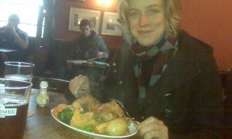 Charlotte Leslie eating a traditional Sunday roast dinner. Photograph: Charlotte Leslie