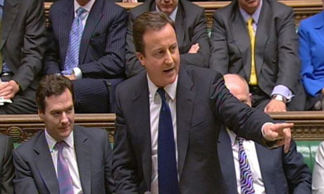 David Cameron speaks in the House of Commons following the Queen's speech at the state opening of parliament