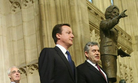 David Cameron and Gordon Brown pass a statue of Margaret Thatcher in the House of Commons after listening to the Queen's speech on December 4 2008. Photograph: Charlie Bibby/Financial Times/NPA Pool