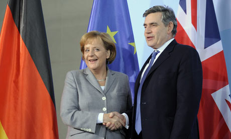 The German chancellor, Angela Merkel, and the UK prime minister, Gordon Brown