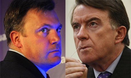 Ed Balls and Peter Mandelson. Photographs: Fiona Hanson and Frantzesco Kangaris/PA Wire