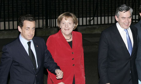 Nicolas Sarkozy, Angela Merkel and Gordon Brown outside 10 Downing Street in 2008