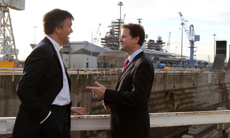 Nick Clegg and the Scottish secretary, Michael Moore, visiting the Rosyth dockyard