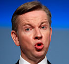 Michael Gove speaking at the Conservative party conference in Birmingham today