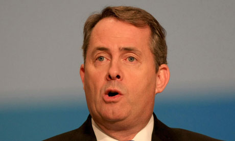 Liam Fox speaking at the Conservative party conference