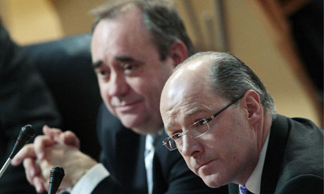 Scottish finance secretary John Swinney (right) and Alex Salmond in the Scottish parliament today
