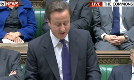 Screengrab from Sky News of David Cameron giving a statement to MPs on the Nato summit
