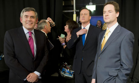 Gordon Brown, David Cameron and Nick Clegg prior to the first live election debate