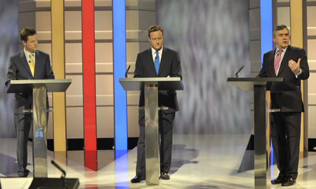 The first televised general election debate between Gordon Brown, David Cameron and Nick Clegg
