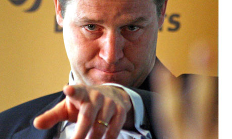 Nick Clegg at a press conference in Cardiff today