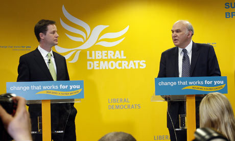 Nick Clegg and Vince Cable at a press conference in London on Tuesday 20 April