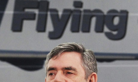 Gordon Brown speaks while visiting the Airbus factory at Filton, near Bristol