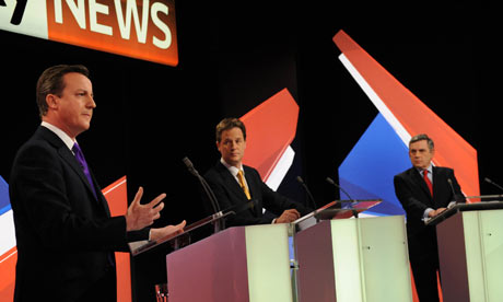 David Cameron, Nick Clegg and Gordon Brown during the second televised leaders' debate on Sky News
