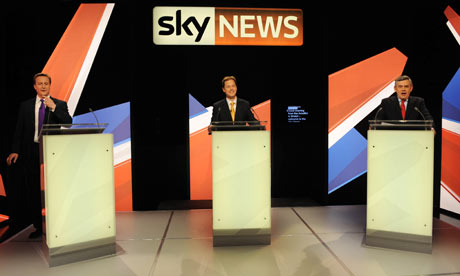 David Cameron, Nick Clegg and Gordon Brown in the Sky News leaders' debate