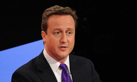David Cameron speaks during the second live leaders' debate on Sky News