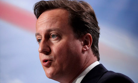 David Cameron speaking at a press conference on Monday 26 April
