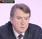 Lord Mandelson at a Labour press conference on April 27