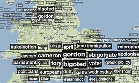 A trendsmap from Twitter showing what people across the UK are Tweeting about this afternoon