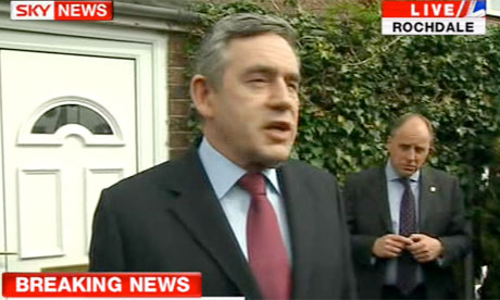 Screengrab from Sky News of Gordon Brown outside Gillian Duffy's house in Rochdale