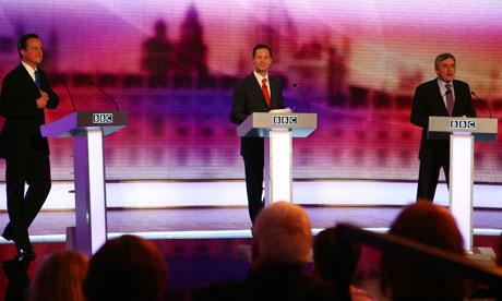 David Cameron, Nick Clegg Gordon Brown, during the final live leaders' election debate