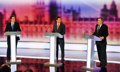 David Cameron, Nick Clegg and Gordon Brown take part in Britain's third televised election debate
