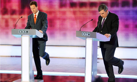 Nick Clegg and Gordon Brown during the final televised leaders' debate