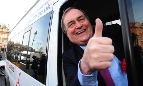 John Prescott on his election battle bus