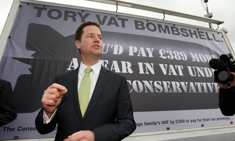 Nick Clegg, the Liberal Democrat leader, launches a new poster campaign in Glasgow