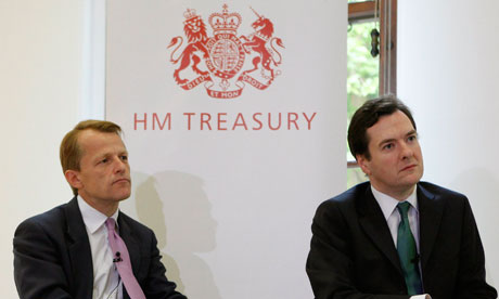 George Osborne and David Laws sit together during today's press conference at the Treasury