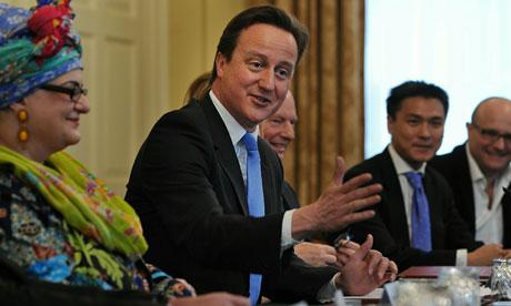 David Cameron chairs a meeting on the 'big society' at Downing Street on 18 May 2010