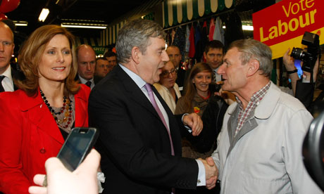 Gordon Brown greets Labour party supporters at Skelmersdale shopping centre in Skelmersdale