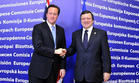 David Cameron and the European commission president, José Manuel Barroso, in Brussels, 17 June 2010