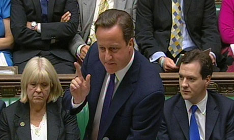 David Cameron speaks during prime minister's questions on 23 June 2010
