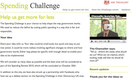 Screengrab of the government's Spending Challenge website