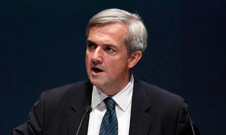 Chris Huhne delivers his speech at the Liberal Democrat party's conference in Liverpool