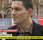 Screengrab of David Miliband beiong interviewed on Sky News today