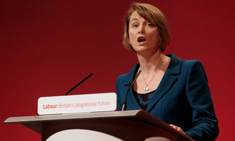 Yvette Cooper delivers a speech to delegates at the Labour conference in Manchester