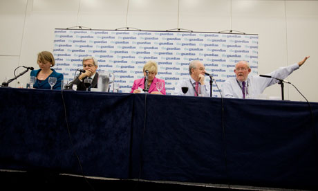 Yvette Cooper, Chris Huhne, Polly Toynbee, Peter Kellner and Charles Clarke at the Guardian debate