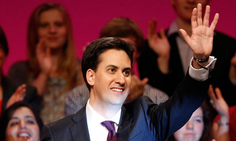 Ed Miliband after making his first speech as Labour leader