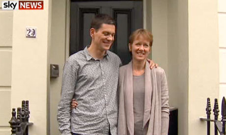 Screengrab from Sky News of David Miliband and his wife, Louise Shackleton this afternoon