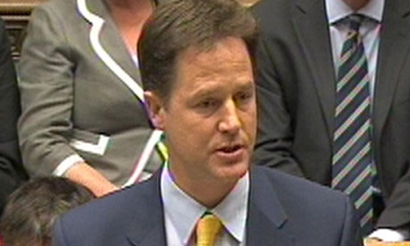 Nick Clegg, standing in for David Cameron, at prime minister's questions