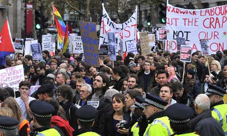Student protests over university tuition fees and public sector cuts